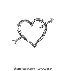 Heart with arrow, continuous line drawing. Tangled grungy round hand drawn with thin line, hand drawn vector illustration. Valentine's Day. Isolated on white background.