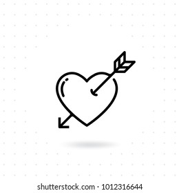 Heart with arrow icon. Valentines day vector line icon , Cupid dart pierced to the heart. Arrow of cupid, Love symbol with arrow. Happy Valentines day vector design