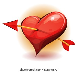 Heart With Arrow/ Illustration of a cartoon big heart icon, pierced by the arrow of cupidon