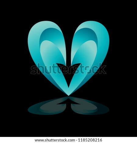 Heart Arrow Logo Middle Love Vector Stock Vector Royalty Free