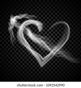 Heart with arrow steam smoke isolated on black background. Heart for web site, poster, placard,backdrop, wallpaper and card template. Realistic effect. Creative art concept,vector illustration, eps 10