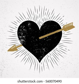 heart and arrow symbol of love with sunburst grunge isolated background