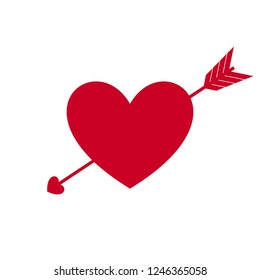 Heart with Arrow, Symbol of Love and Valentine's Day. Flat Red Icon Isolated on White Background. Vector illustration.