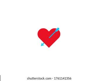 Heart with Arrow vector flat icon. Cupid Arrow, Lovestruck icon. Isolated Heart with Arrow emoji illustration symbol