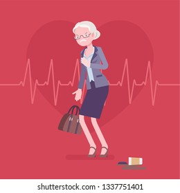 Heart attack female symptoms. Senior woman has a sudden great pain, aching sensation in chest, serious medical emergency case, cardiogram pulse background. Medicine and healthcare. Vector illustration