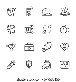 Heart attack first aid, Healthcare and medical icons set. Vector line icons