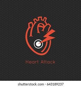 Heart Attack logo vector icon design
