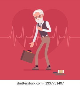 Heart attack male symptoms. Senior man has a sudden great pain, aching sensation in chest, serious medical emergency case, cardiogram pulse background. Medicine and healthcare. Vector illustration