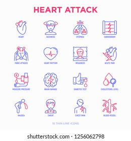 Heart attack symptoms thin line icons set: dizziness, dyspnea, cardiogram, panic attack, weakness, acute pain, cholesterol level, nausea, diabetes. Modern vector illustration.
