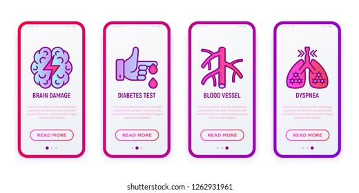 Heart attack symptoms thin line icons set: brain damage, diabetes test, vessel, dyspnea. Vector illustration for user mobile interface.