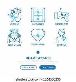 Heart attack symptoms thin line icons set: acute pain, cardiogram, diabetes test, panic attack, heart rhythm, chest pain. Modern vector illustration.