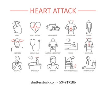Heart Attack. Symptoms, Treatment. Line icons set. Vector signs for web graphics.