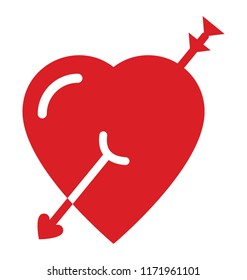 Heart attacked with cupid arrow, cupid heart icon