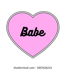 Heart with Babe Text