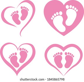 Heart Baby Feet Isolated on White Background