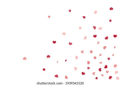 Heart Background. 8 March Banner with Flat Heart.  Exploding Like Sign. Vector Template for Mother's Day Card. Empty Vintage Confetti Template. Red Pink St Valentine Day Card with Classical Hearts.