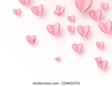 Heart background with light pink paper cut hearts. Love pattern for motion graphic design, valentines day cards, mother greetings. Vector illustration.