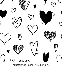 Heart background - seamless heart shape texture. Love vector.