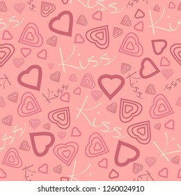 Heart background. Vector seamless pattern. Romantic tiled pattern for wrapping paper and wallpaper design.