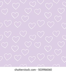 Heart background vector. Seamless, pattern. Hand drawn hearts and lines. For gift paper, web backgrounds, wrap paper, textile, natural cotton, baby shower...