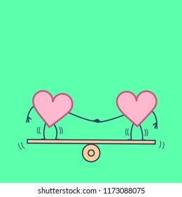 Heart balancing on swing. Vector concept illustration of balance between two hearts | flat design linear infographic icon on green background