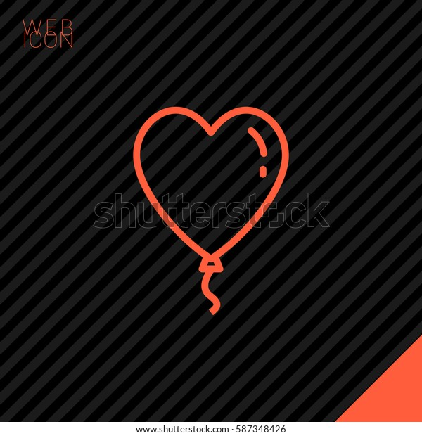 Heart balloon isolated single linear icon for websites and mobile minimalistic flat design.