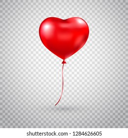 Heart balloon. Red heart glossy balloon isolated on transparent background. Festive decoration. Holiday backdrop with flying red balloon. Happy Valentines Day design element. Vector illustration.