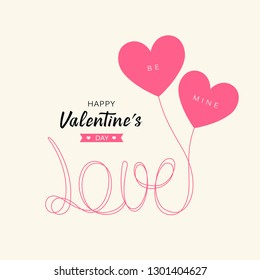 Heart balloons love message happy valentine's day concept design, vector illustration
