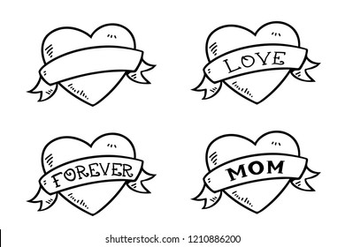 Heart with banner ribbon. Vector drawings of tatoo hearts with words isolated on white