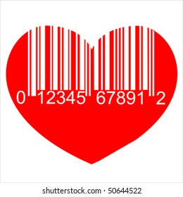 Heart barcode icon. Useful bar code for Valentine's Day. Isolated on white, vector