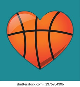 heart with basketball ball  for loving basketball sport concept vector symbol illustration