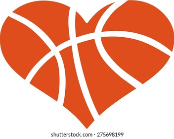Heart with Basketball Pattern