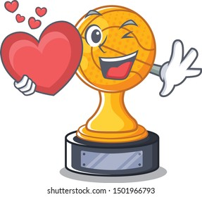 With heart basketball trophy character shaped on cartoon