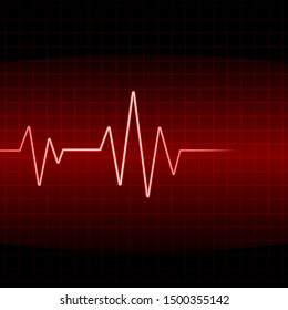 Heart beat cardiogram background - red vector illustration
