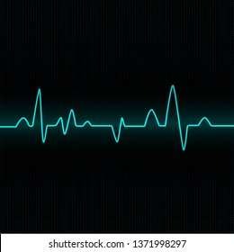Heart beat cardiogram - blue vector illustration - Vector