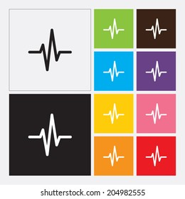 Heart beat cardiogram icon in flat design style. Vector illustration eps 10.