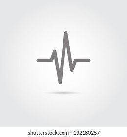 Heart beat cardiogram icon on gray background.