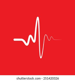 Heart beat cardiogram icon on red background.