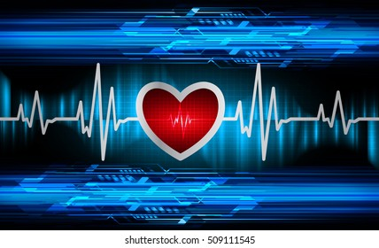 Heart beat, cardiogram. Pulse icon. blue background. EKG