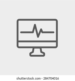 Heart beat display in monitor icon thin line for web and mobile, modern minimalistic flat design. Vector dark grey icon on light grey background.