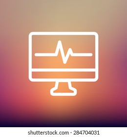 Heart beat display in monitor icon thin line for web and mobile, modern minimalistic flat design. Vector white icon on gradient mesh background.