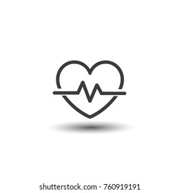 Heart beat icon flat design, isolated on white background. Heart symbol for a website. Application, user interface. Vector illustration
