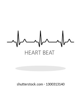 Heart Beat icon in flat style. EKG symbol for your web site design, logo, app, UI Vector EPS 10.