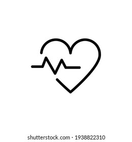 Heart beat icon. Heartbeat , heart beat pulse flat icon for medical apps and websites. Heart and cardiorgam, heartbeat simple black line web icon vector illustration.