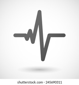 heart beat   icon with shadow on white background