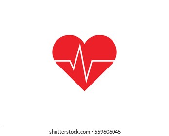 Heart beat icon vector illustration on white background