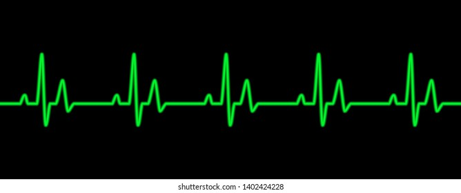 Heart beat line green on black - Vector