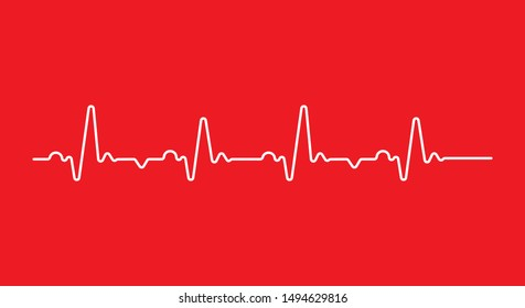 Heart beat monitor pulse line art icon for medical apps and websites. breathing and alive sign red love heart. Red Medic blood pressure , cardiogram, health EKG, ECG logo. flat outline style.