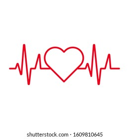 Heart beat monitor pulse line art icon for medical apps and websites isolated on white background EPS Vector