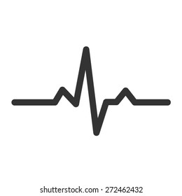 Heart beat monitor pulse line art vector icon for medical apps and websites